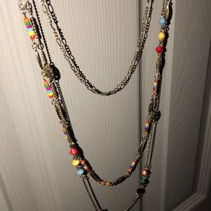 Multi color gold layered necklace